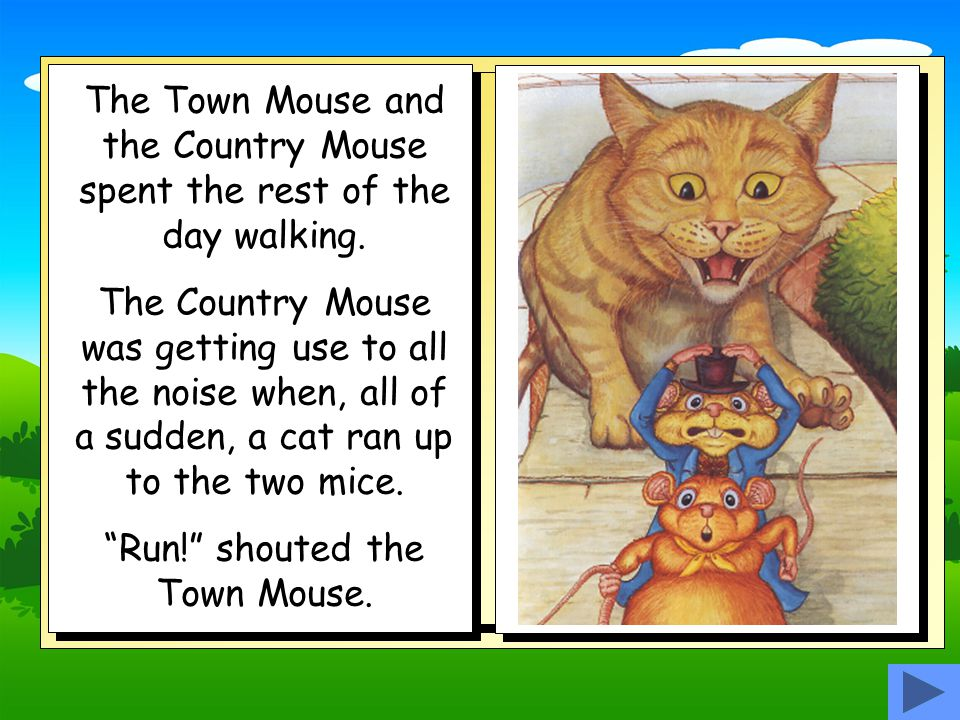 Run! shouted the Town Mouse.