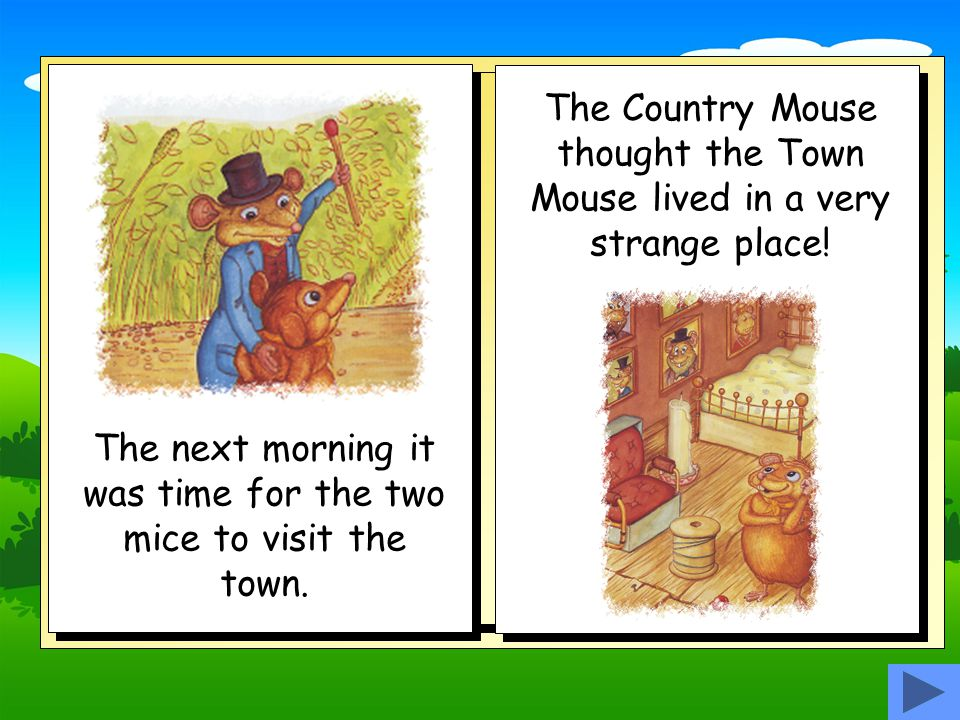 The next morning it was time for the two mice to visit the town.