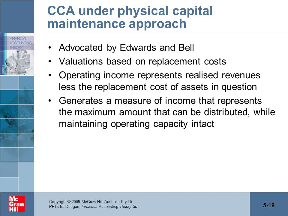 CCA under physical capital maintenance approach