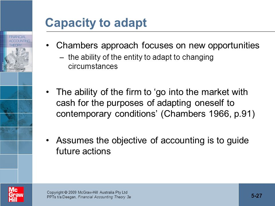 Capacity to adapt Chambers approach focuses on new opportunities