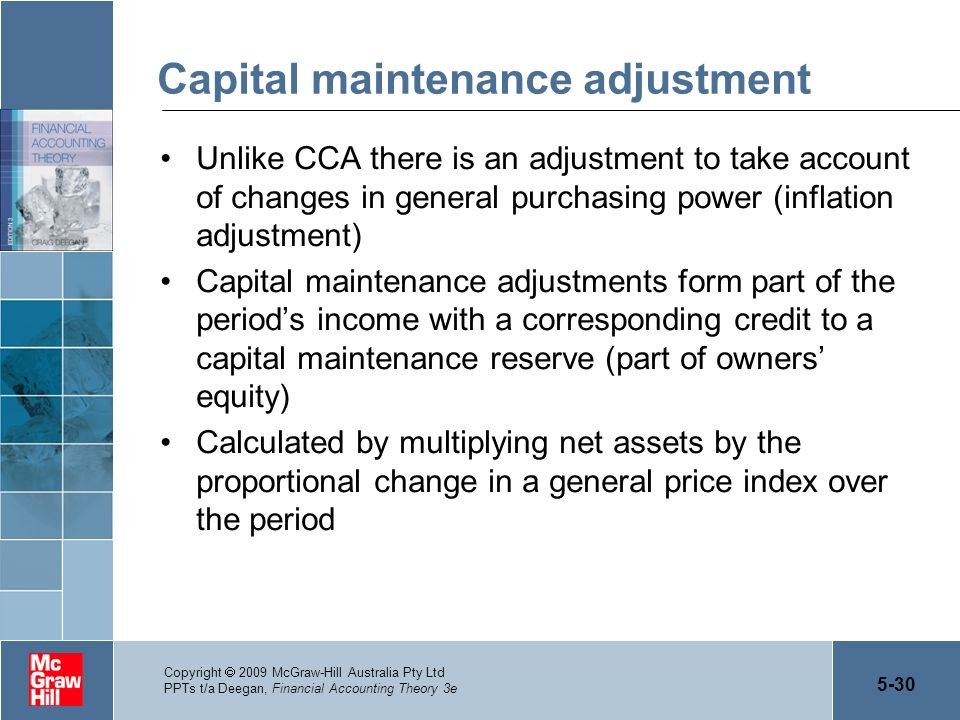Capital maintenance adjustment