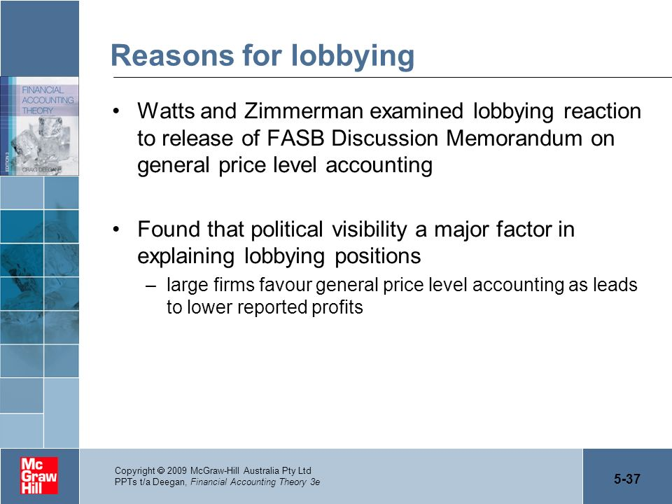 Reasons for lobbying Watts and Zimmerman examined lobbying reaction to release of FASB Discussion Memorandum on general price level accounting.