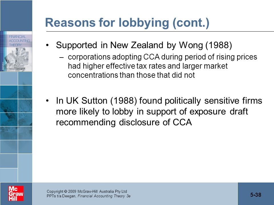 Reasons for lobbying (cont.)
