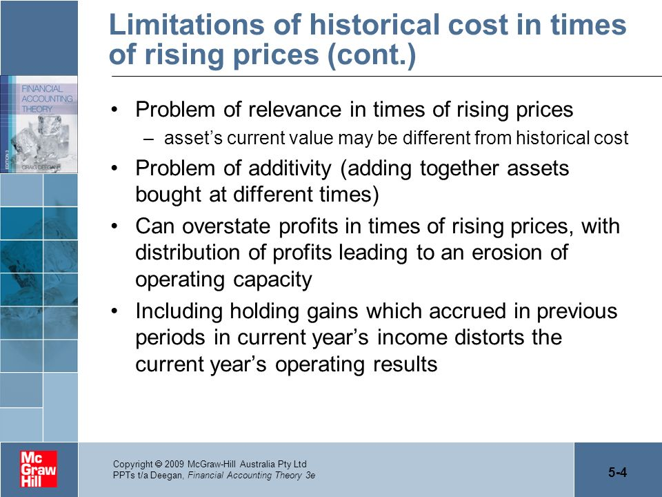 Limitations of historical cost in times of rising prices (cont.)