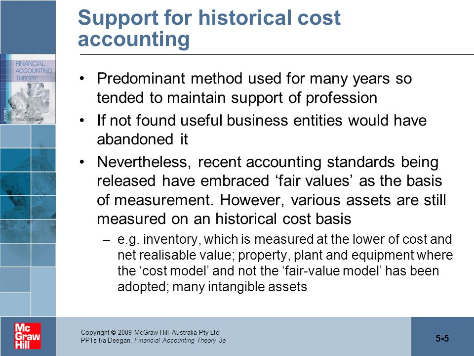 historical cost model The use of fair value and historical cost accounting for investment properties in rather than historical cost accounting for investment the cost model.