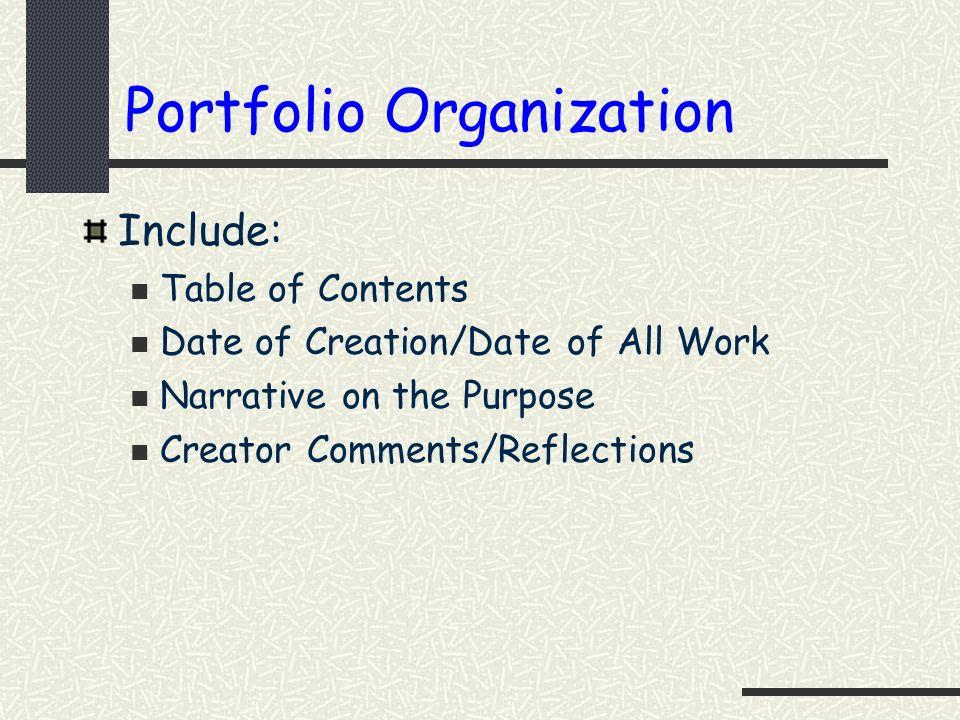 Portfolio Organization