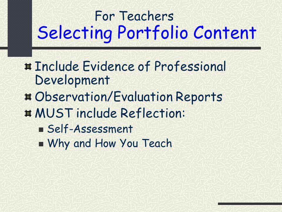 Selecting Portfolio Content