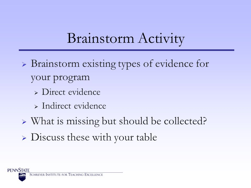 Brainstorm Activity Brainstorm existing types of evidence for your program. Direct evidence. Indirect evidence.