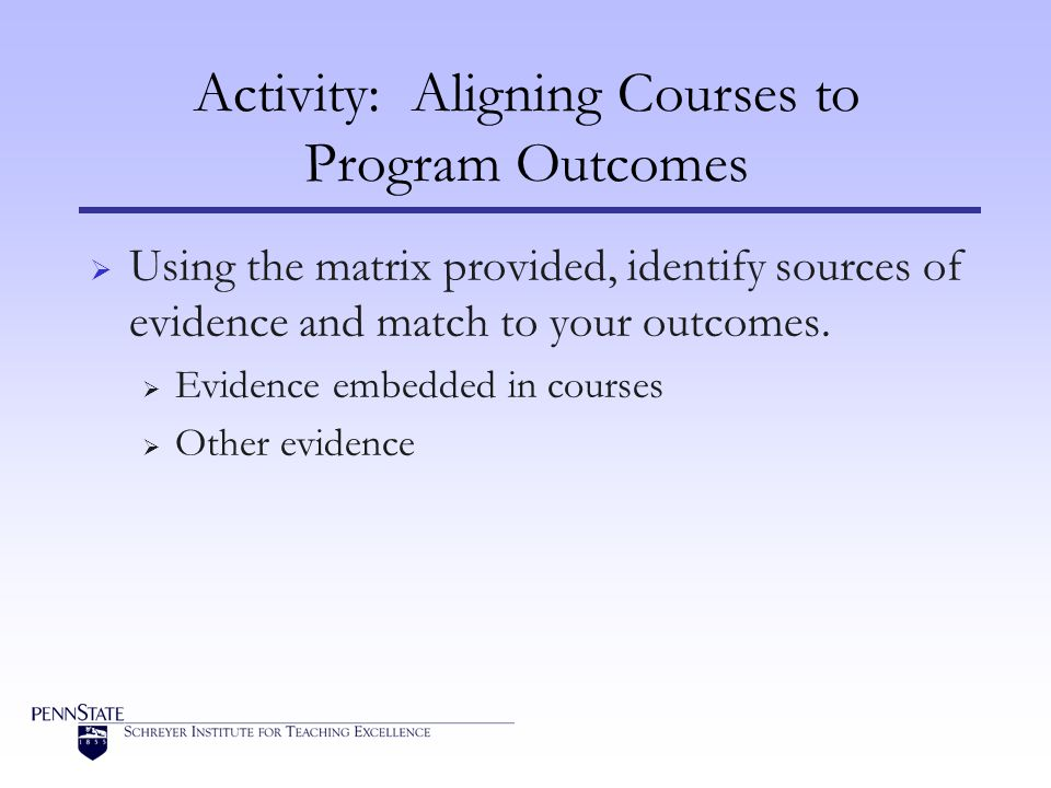 Activity: Aligning Courses to Program Outcomes