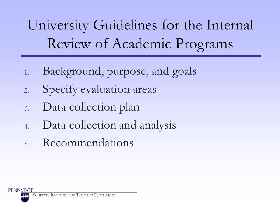 University Guidelines for the Internal Review of Academic Programs