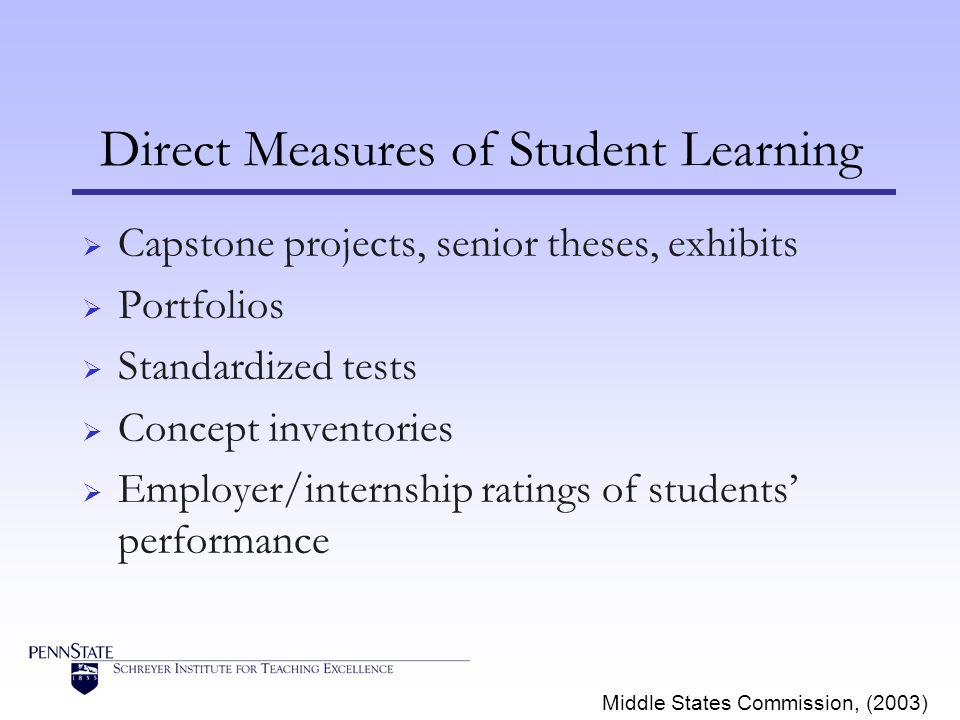 Direct Measures of Student Learning