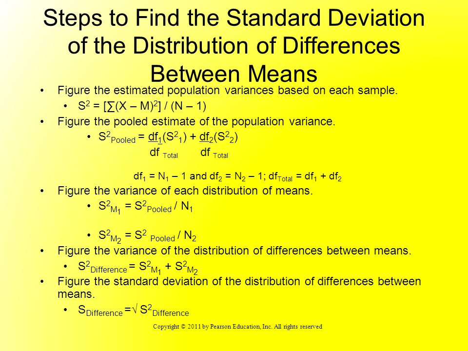 Steps to Find the Standard Deviation of the Distribution of Differences Between Means