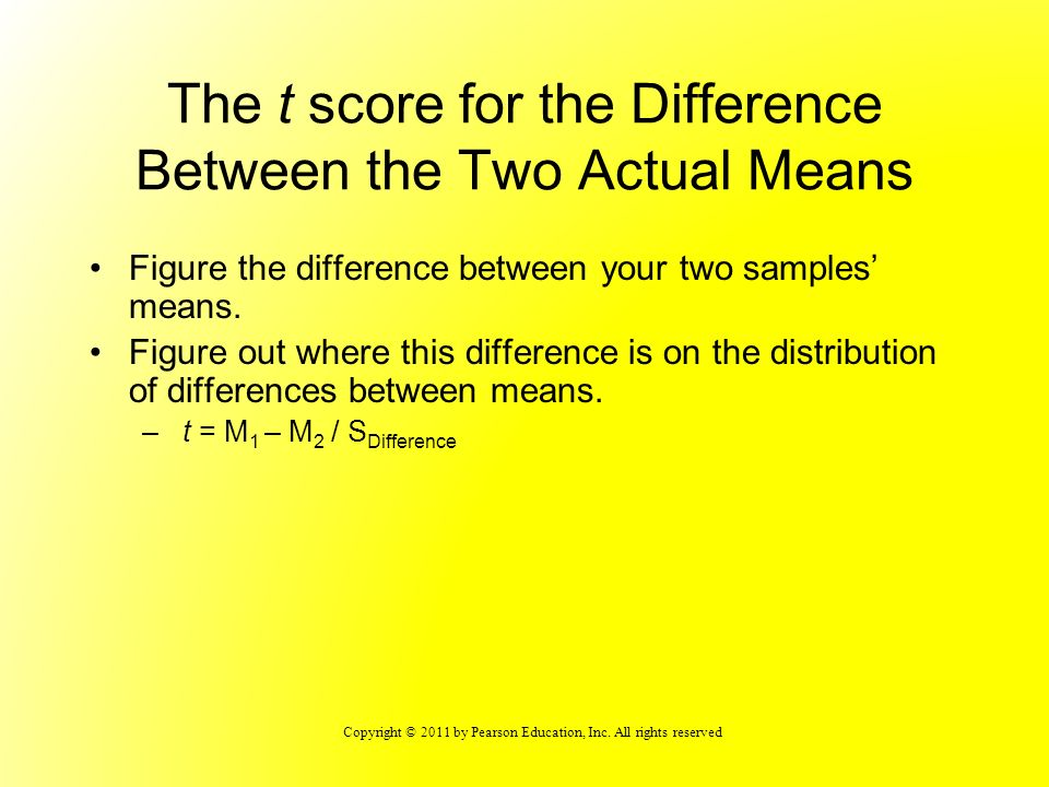 The t score for the Difference Between the Two Actual Means