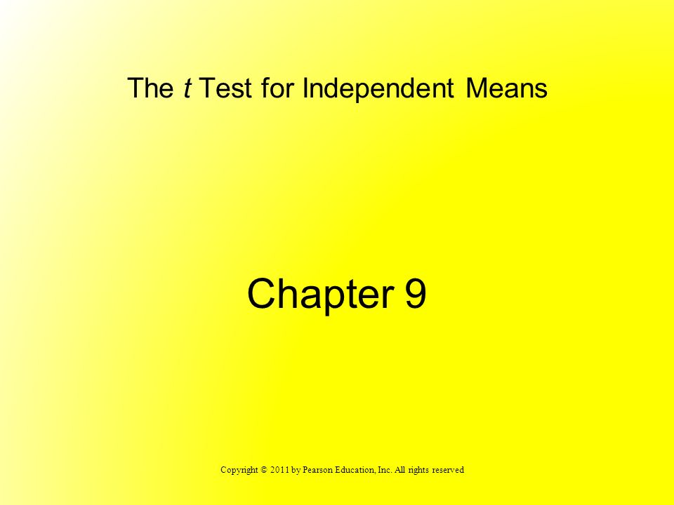 The t Test for Independent Means