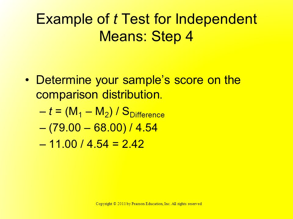 Example of t Test for Independent Means: Step 4