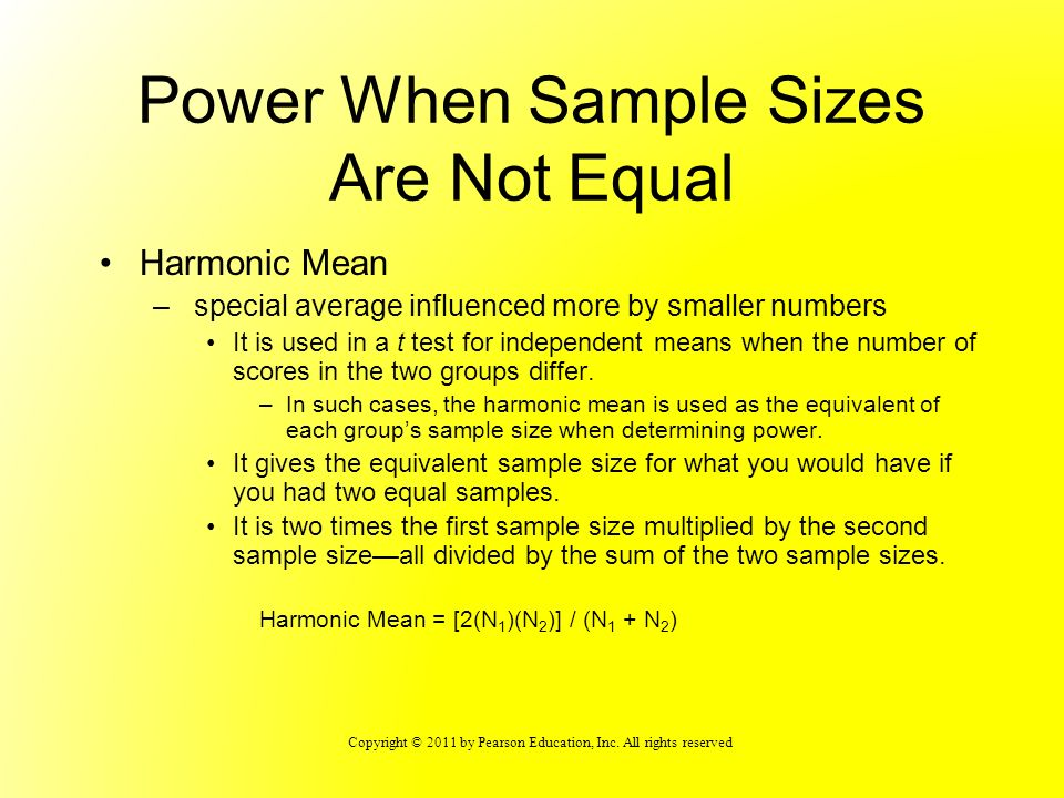 Power When Sample Sizes Are Not Equal