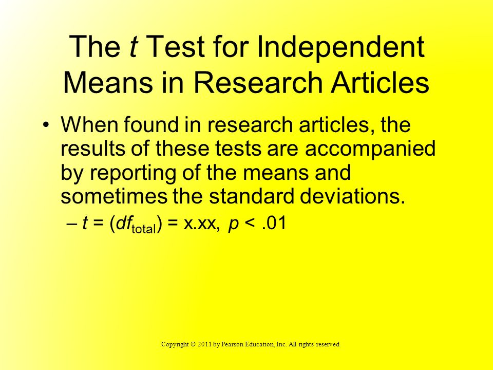 The t Test for Independent Means in Research Articles