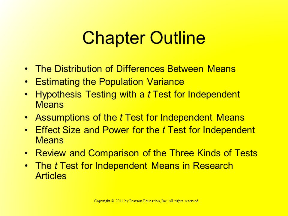Chapter Outline The Distribution of Differences Between Means