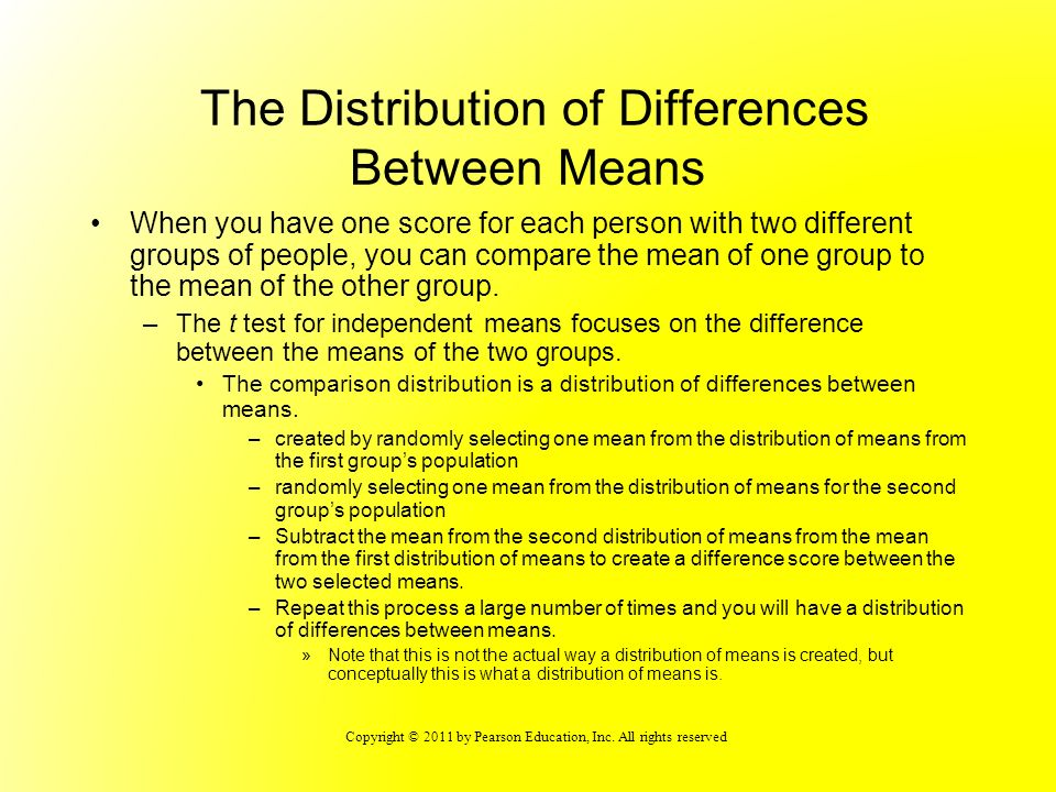 The Distribution of Differences Between Means