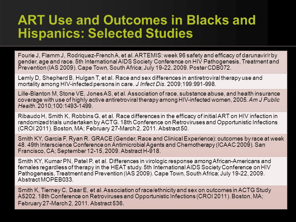 ART Use and Outcomes in Blacks and Hispanics: Selected Studies