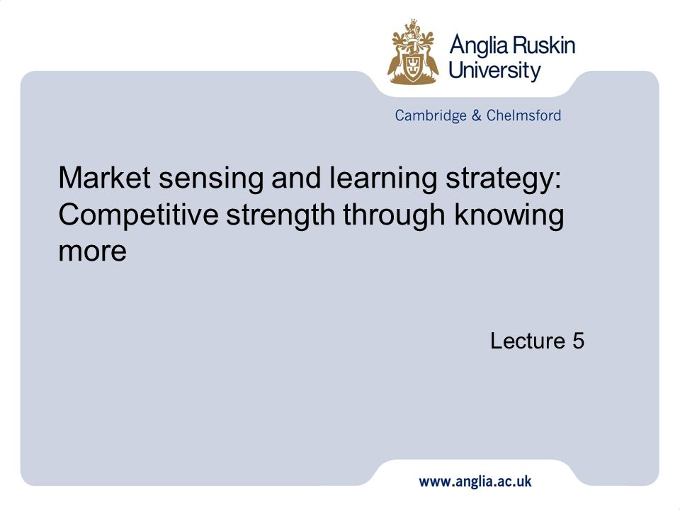 Market sensing and learning strategy: Competitive strength through knowing more