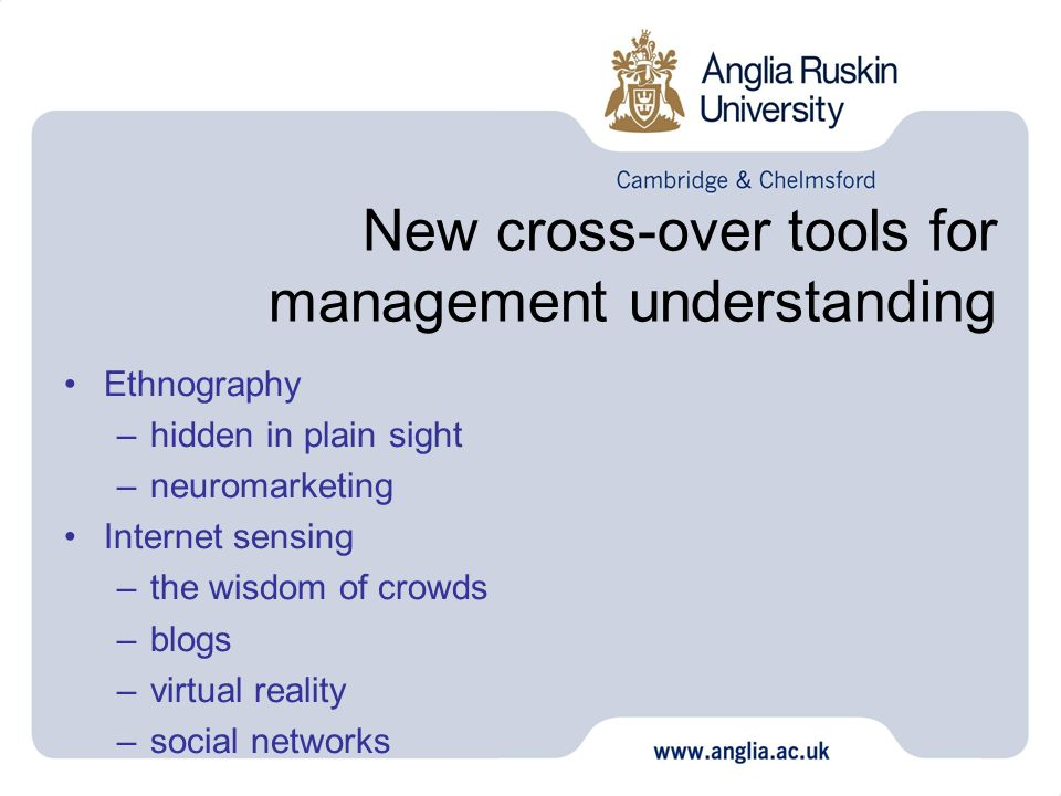 New cross-over tools for management understanding