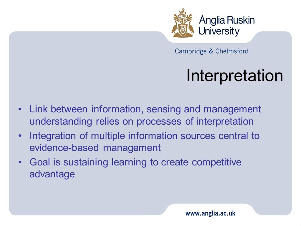 Interpretation Link between information, sensing and management understanding relies on processes of interpretation.
