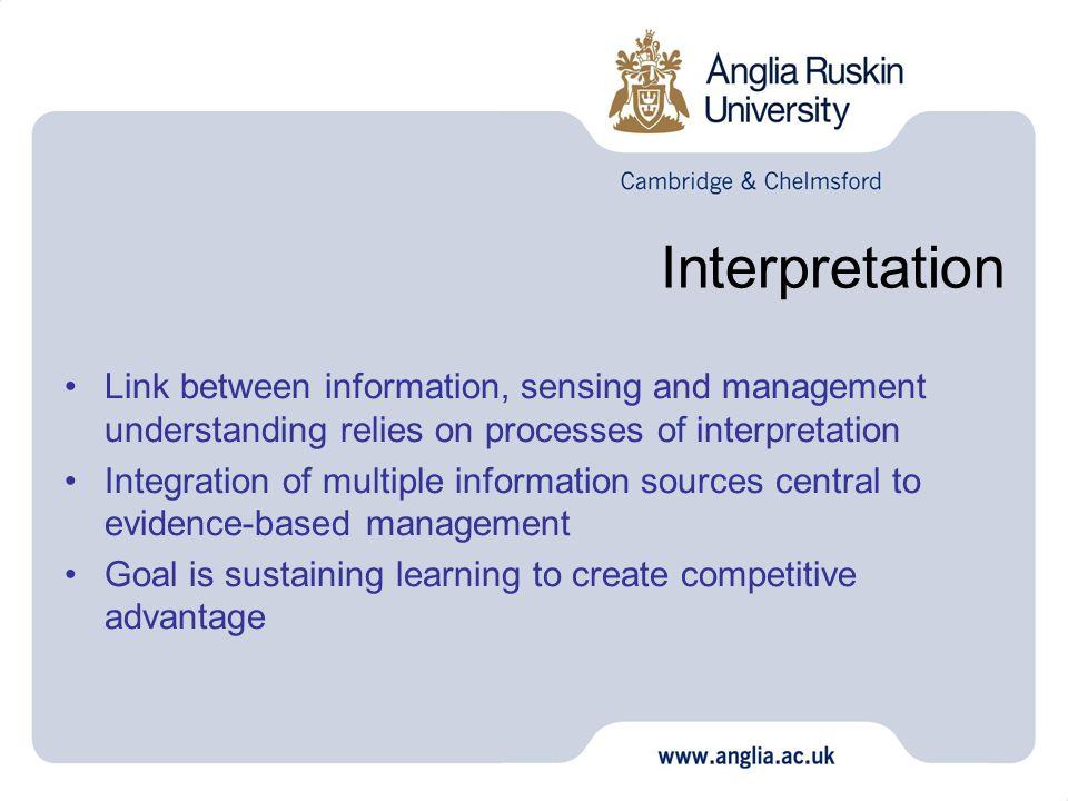 Interpretation Link between information, sensing and management understanding relies on processes of interpretation.