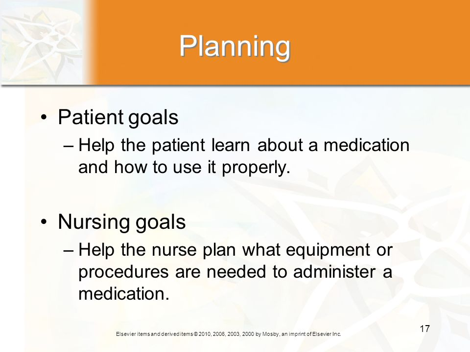 Planning Patient goals Nursing goals