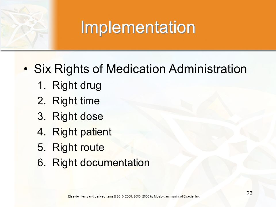 Implementation Six Rights of Medication Administration 1. Right drug