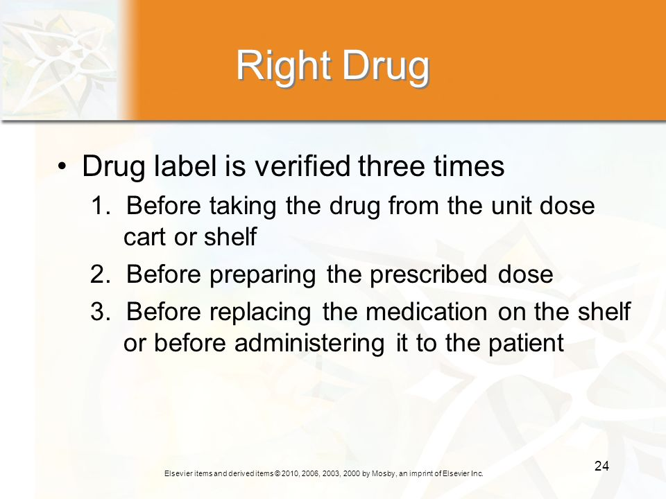 Right Drug Drug label is verified three times