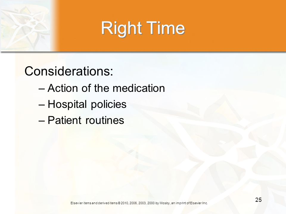 Right Time Considerations: Action of the medication Hospital policies