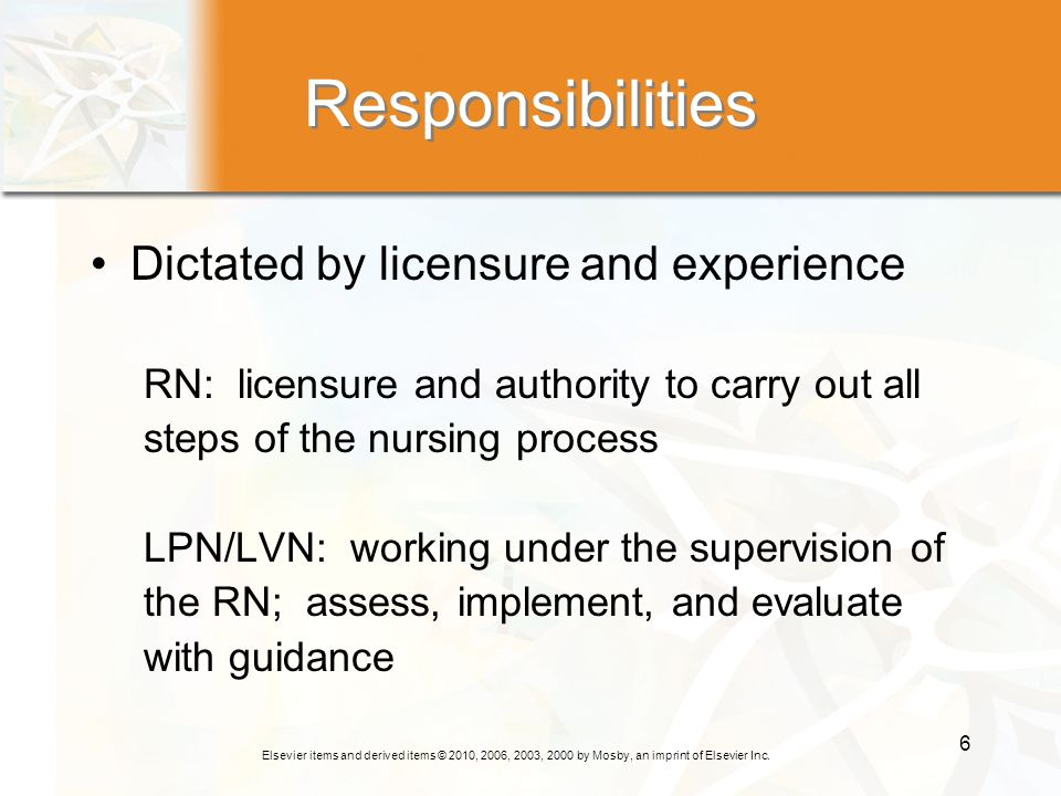 Responsibilities Dictated by licensure and experience