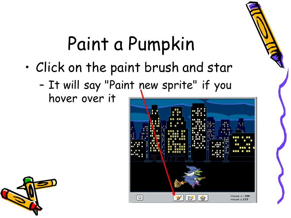 Paint a Pumpkin Click on the paint brush and star