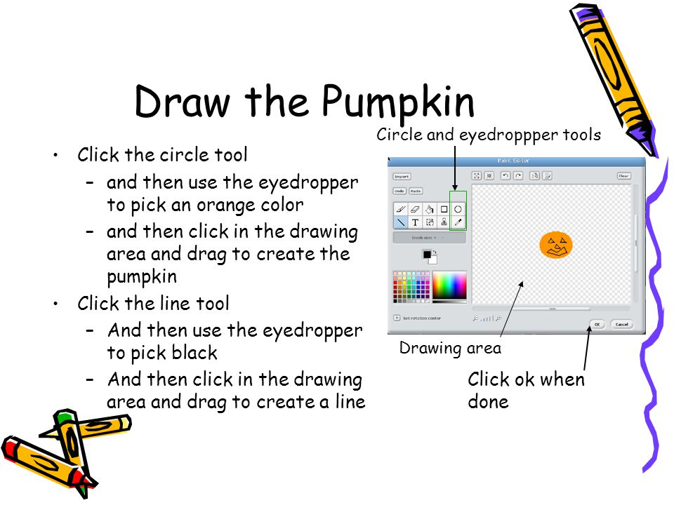 Draw the Pumpkin Click the circle tool