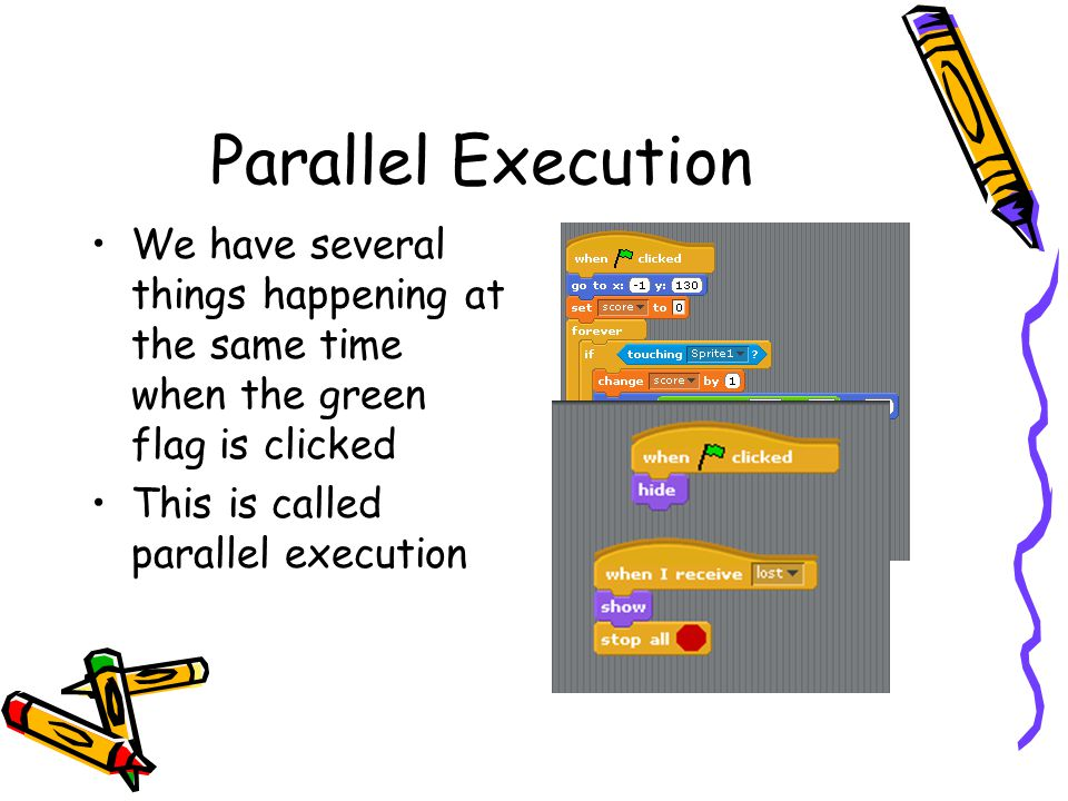 Parallel Execution We have several things happening at the same time when the green flag is clicked.