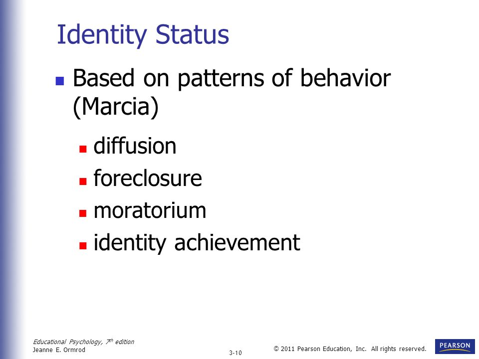 Identity Status Based on patterns of behavior (Marcia) diffusion