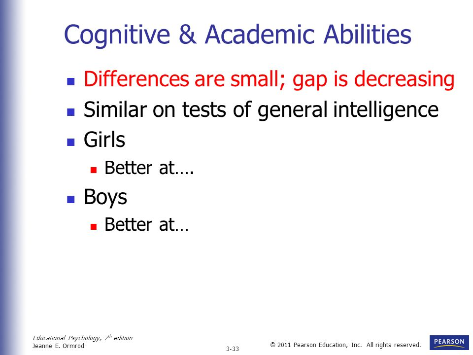 Gender differences in students academic performance