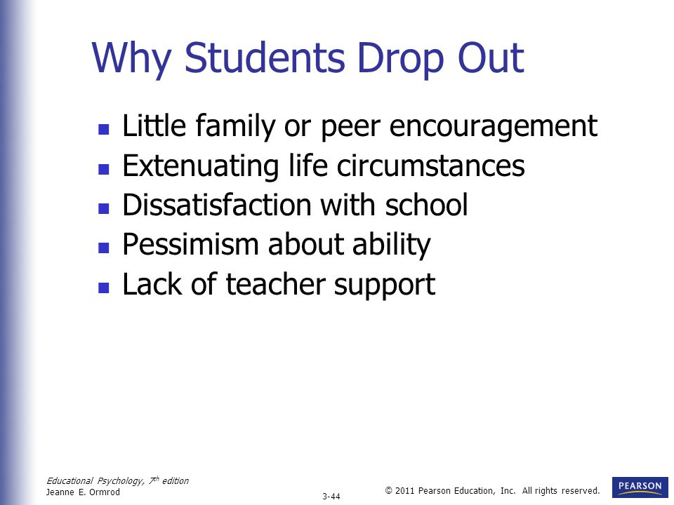 Why Students Drop Out Little family or peer encouragement