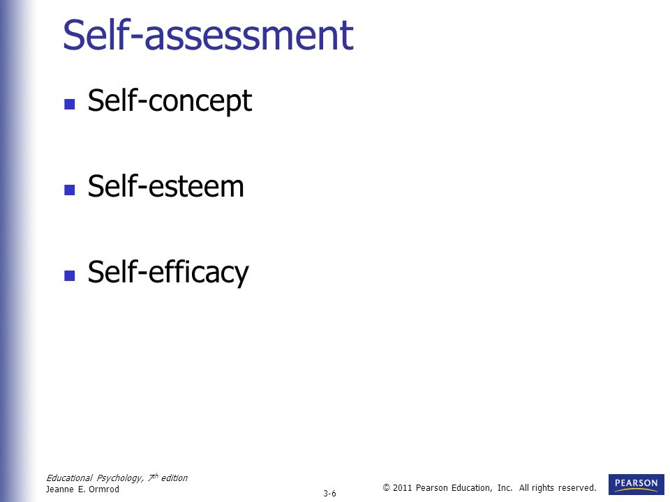 Self-assessment Self-concept Self-esteem Self-efficacy