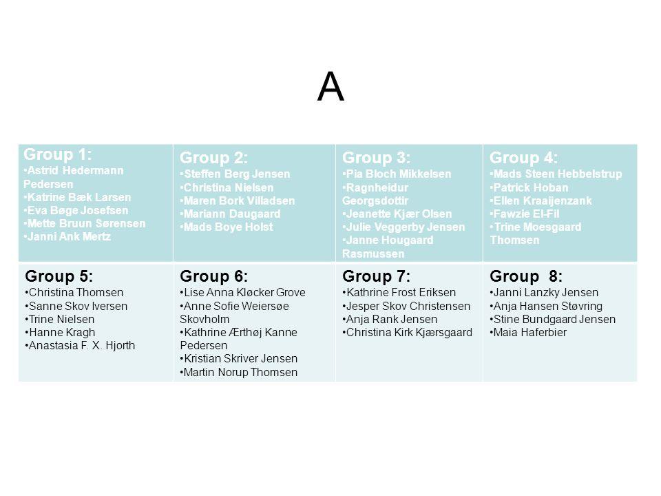 A Group 1: Group 2: Group 3: Group 4: Group 5: Group 6: Group 7: