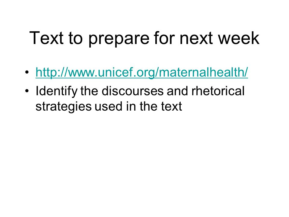 Text to prepare for next week