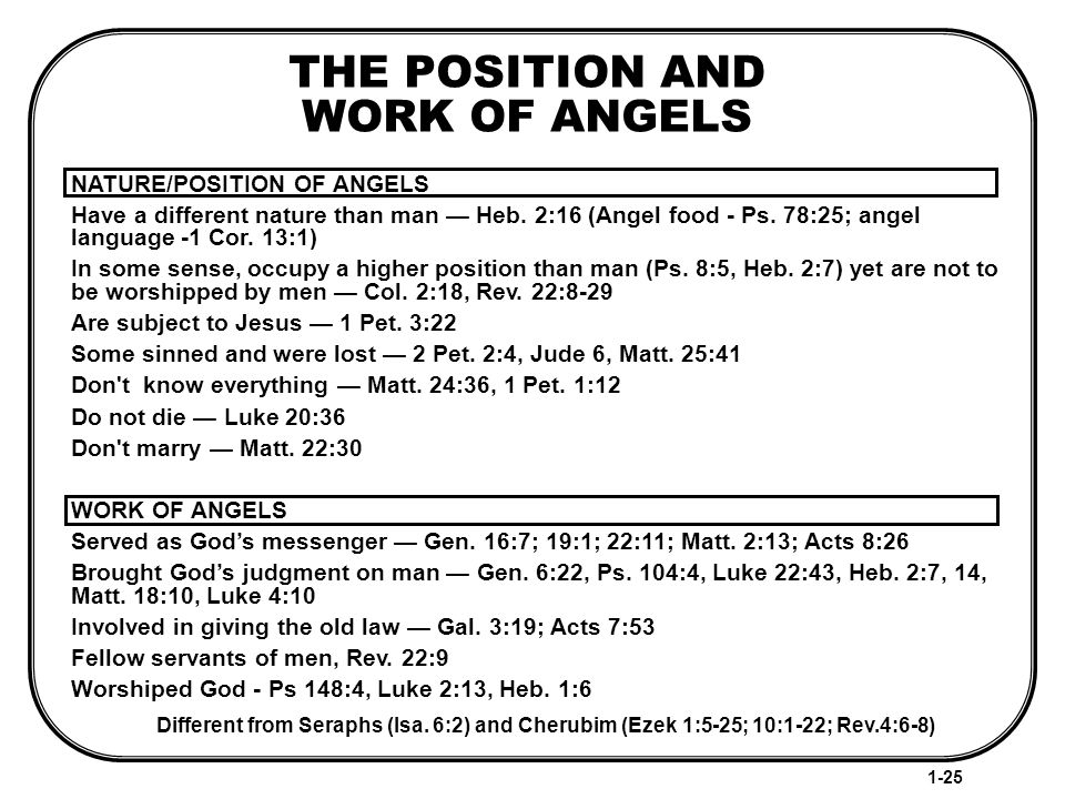 THE POSITION AND WORK OF ANGELS