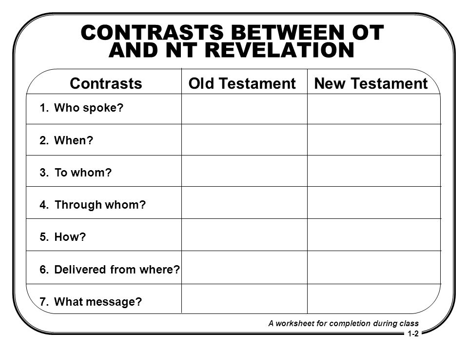 CONTRASTS BETWEEN OT AND NT REVELATION