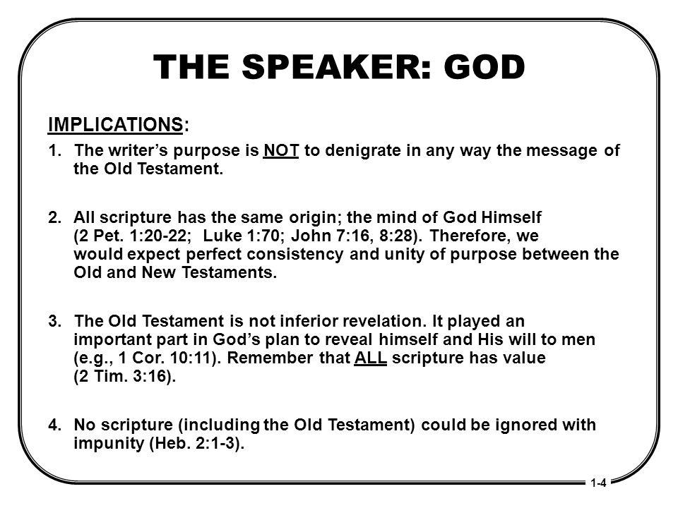 THE SPEAKER: GOD IMPLICATIONS: