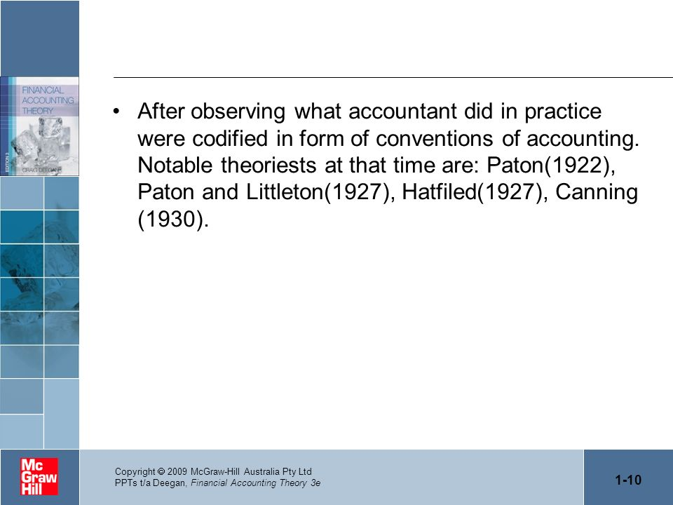 After observing what accountant did in practice were codified in form of conventions of accounting. Notable theoriests at that time are: Paton(1922), Paton and Littleton(1927), Hatfiled(1927), Canning (1930).