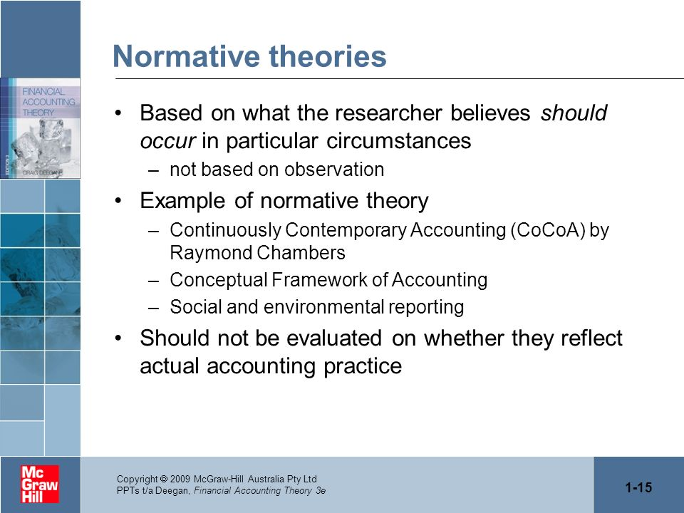 Normative theories Based on what the researcher believes should occur in particular circumstances. not based on observation.