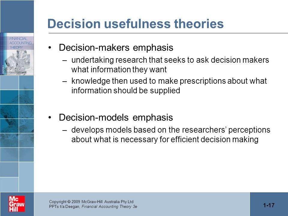 Decision usefulness theories