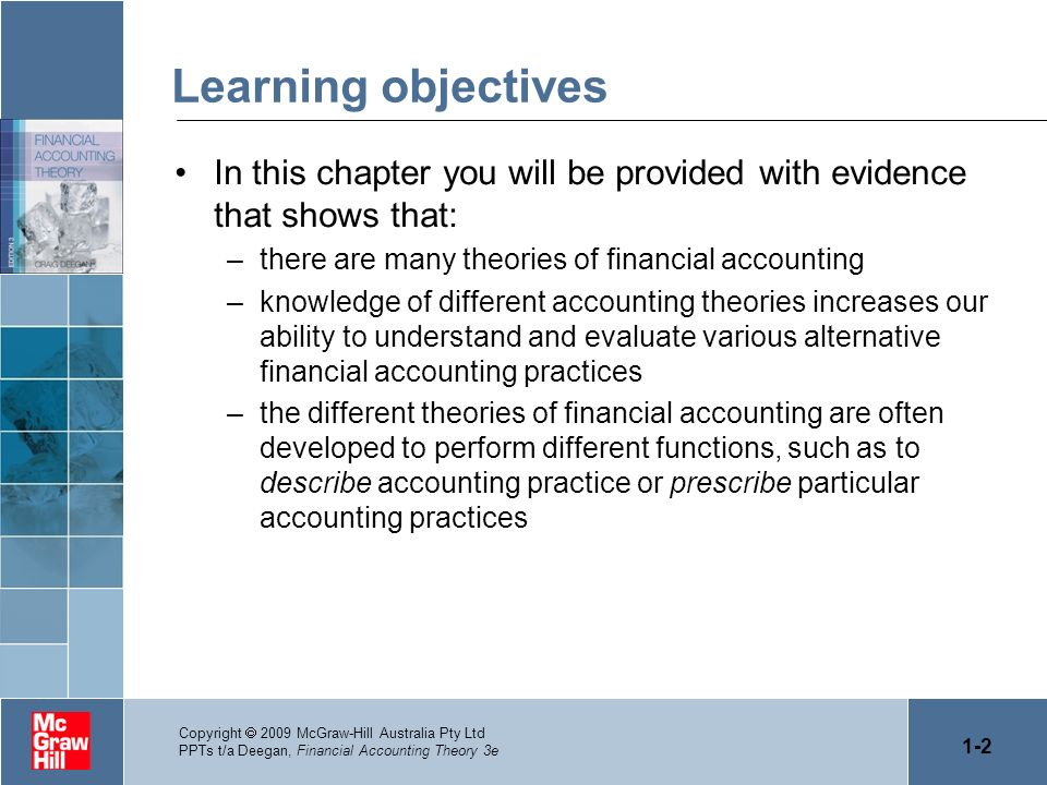 Learning objectivesIn this chapter you will be provided with evidence that shows that: there are many theories of financial accounting.