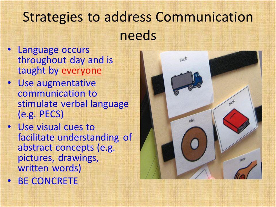 Strategies to address Communication needs